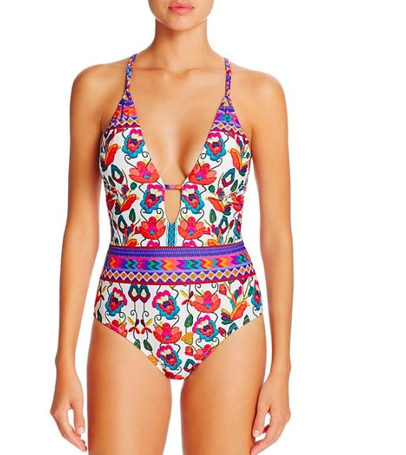 Women Floral Printed One-Piece  Bikinis Set