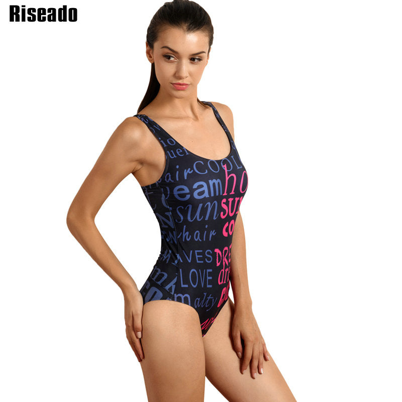 Women Letter Printed Sport Suit Swimsuit