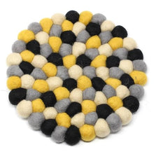 Load image into Gallery viewer, Hand Crafted Felt Ball Trivets from Nepal: Round, Mustard - Global Groove (T)