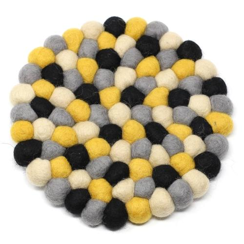 Hand Crafted Felt Ball Trivets from Nepal: Round, Mustard - Global Groove (T)
