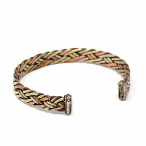 Copper and Brass Cuff Bracelet: Healing Weave - DZI (J)