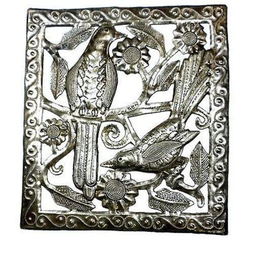 Two Birds Metal Wall Art - 11 by 12 Inches - Croix des Bouquets