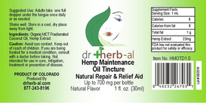 Hemp Label for DrHerb-al lip balm shop Denver natural medicine