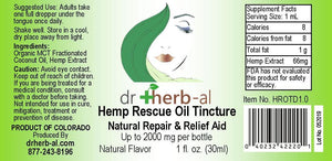 Hemp Rescue Oil Tincture [High Potency] | [2000mg Hemp (1oz)]