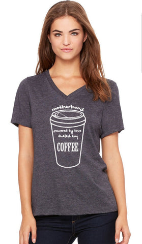 Motherhood Fuel by Coffee V Neck Soft