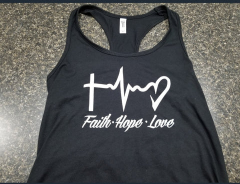 Faith Hope Love Ladies Racerback Tank