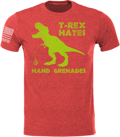 T-Rex Hates Hand Grenades SoftStyle T-Shirt W/ Flag