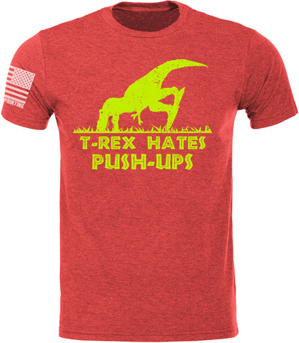 T-Rex Hates Push Ups Red SoftStyle T-Shirt W/ Flag