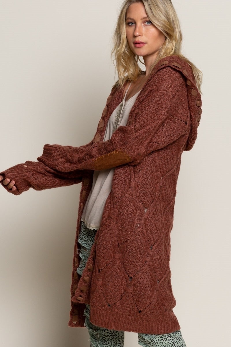 Suede Elbow Patch Cardi