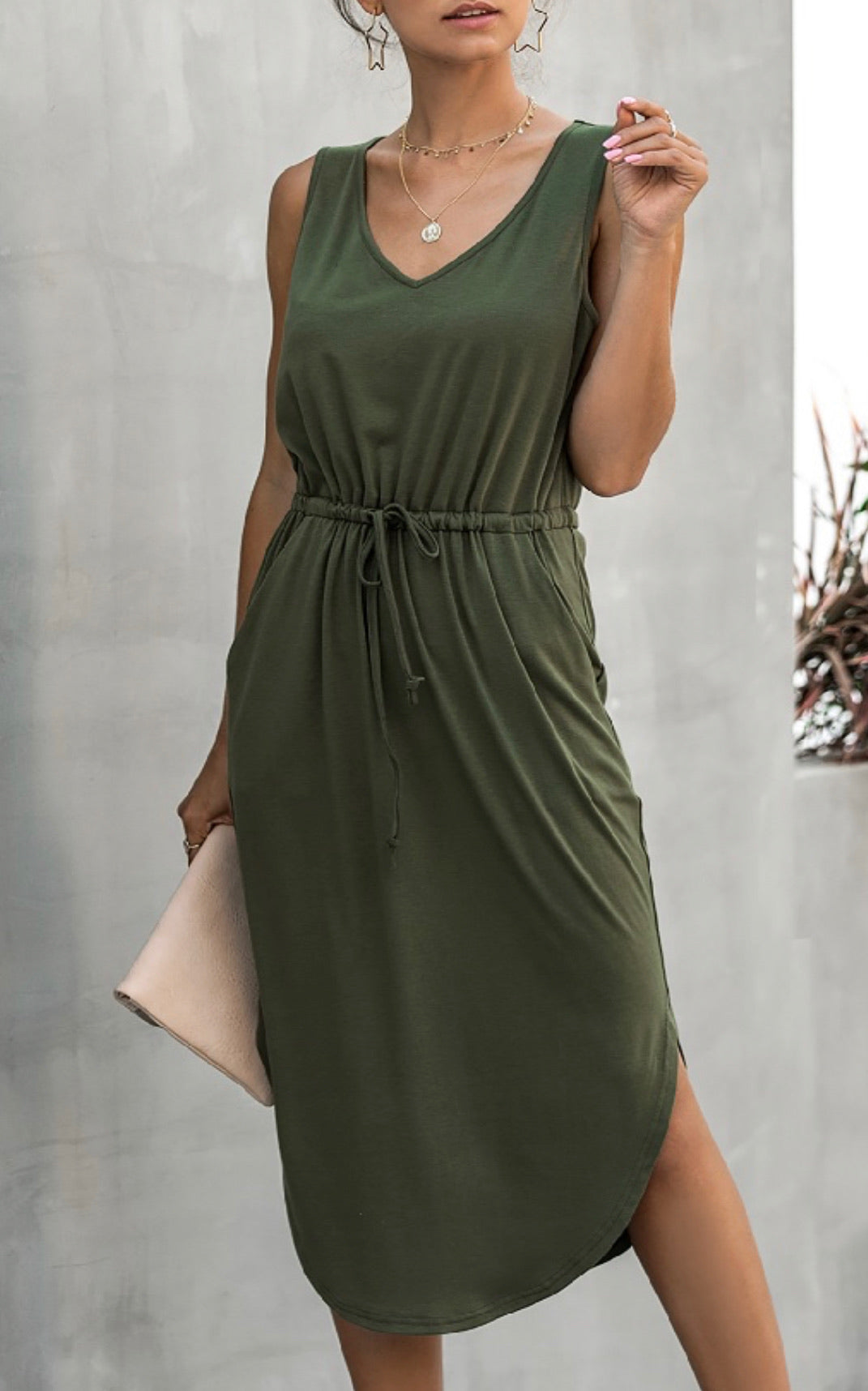 Casual Tie Waist Dress ** 2 Colors