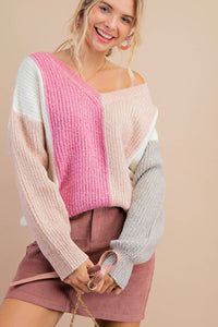 Pink Color-Block Sweater