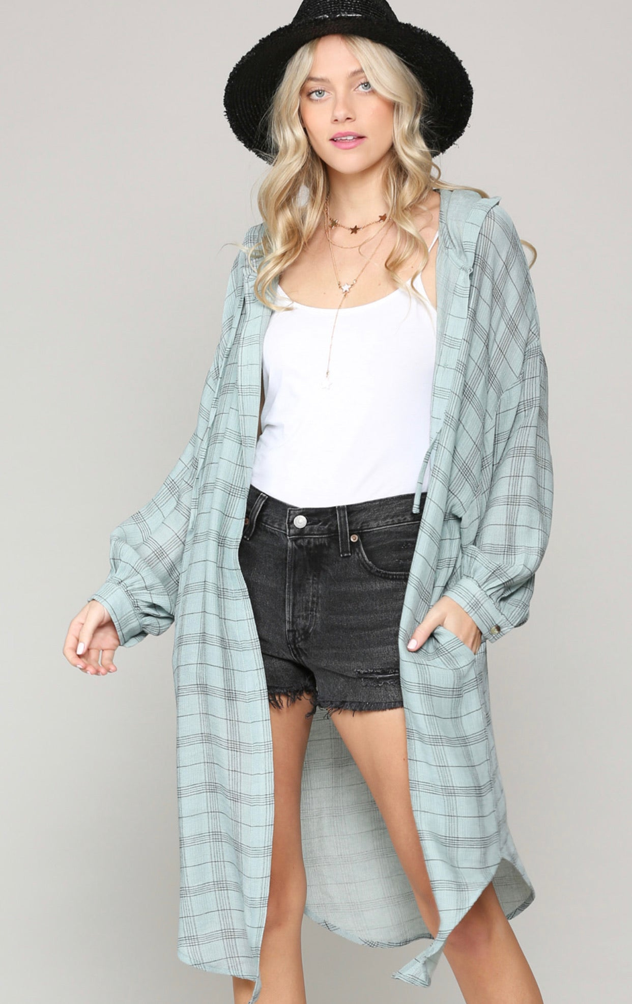Oversized White Plaid Duster