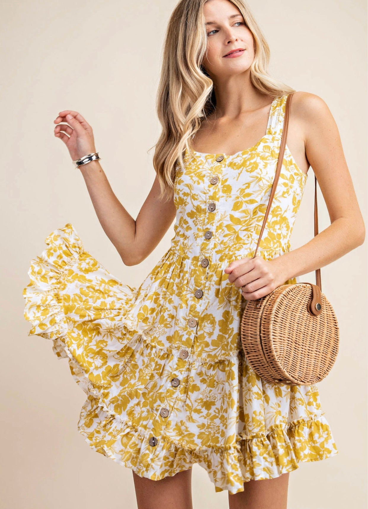 Light Mustard Floral Dress