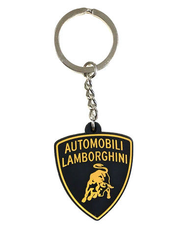 Lamborghini Large Shield Crest Keyring Black/Gold