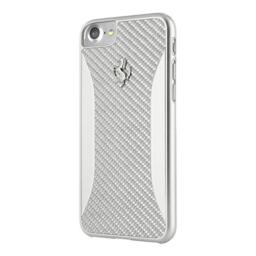 Ferrari GT Carbon Fiber Brushed Aluminum Hard Case for iPhone 7 Silver