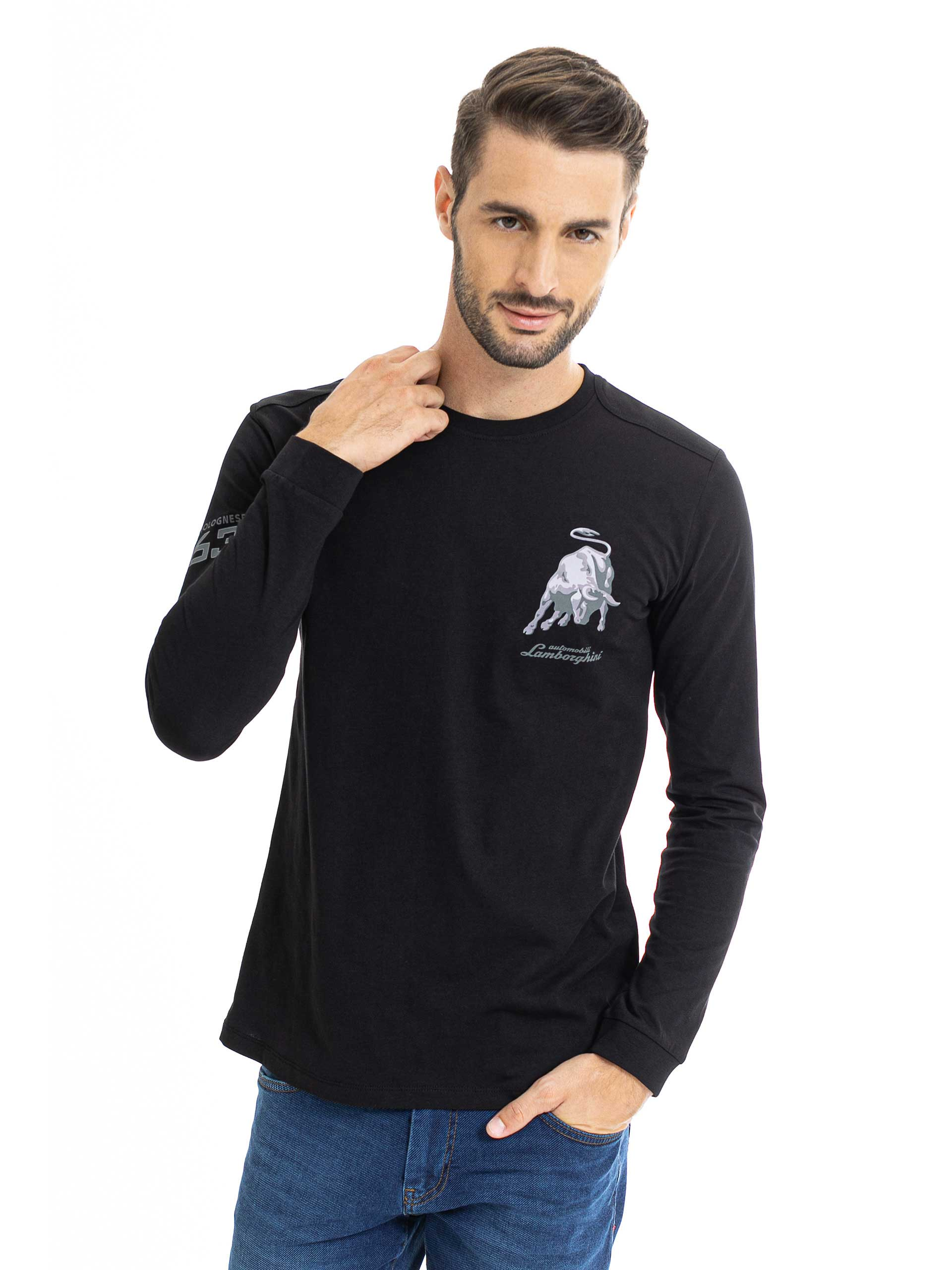 Lamborghini Men's Small Bull Long Sleeve T-Shirt Black
