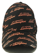 Load image into Gallery viewer, Lamborghini Allover Script Hat Black/Orange