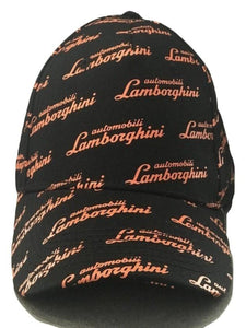 Lamborghini Allover Script Hat Black/Orange