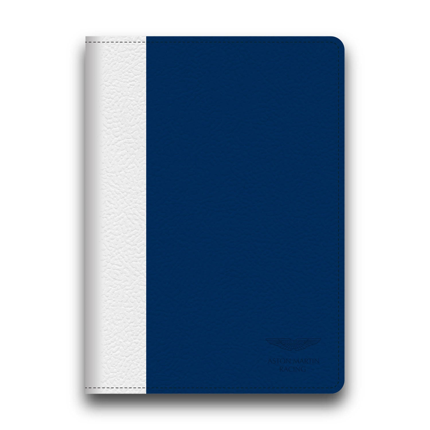 Aston Martin Racing Blue/White Leather Stripe Apple iPad Air Book Case Blue