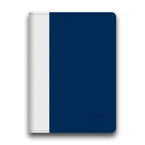 Aston Martin Racing Blue/White Leather Stripe Apple iPad Air Book Case
