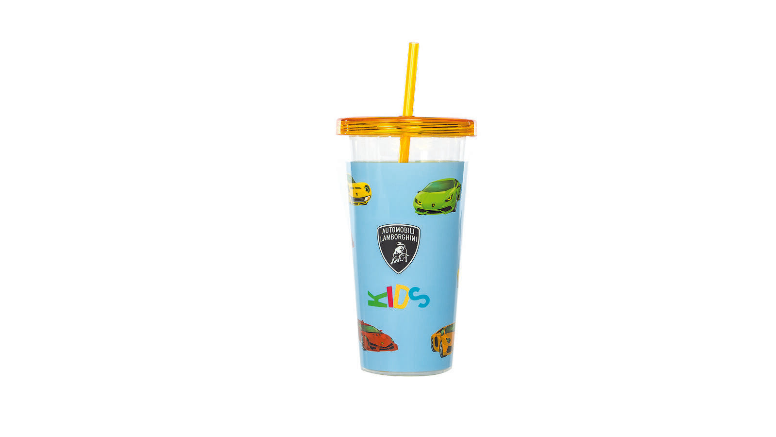 Lamborghini Kid's Travel Tumbler with Reusable Straw Light Green