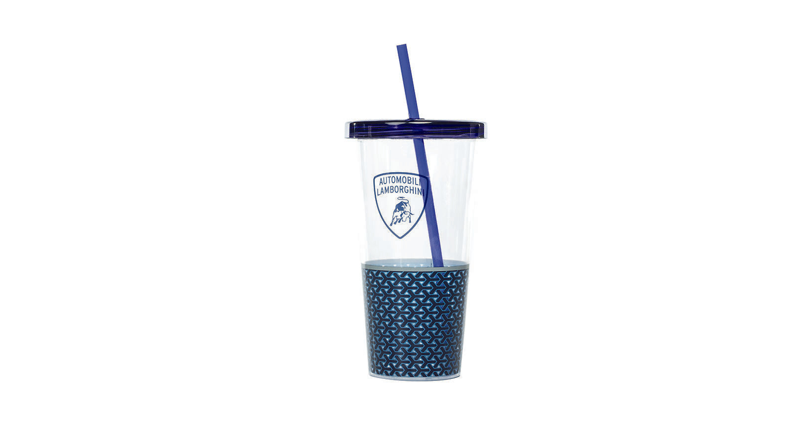 Lamborghini Travel Tumbler with Reusable Straw Blue/Clear