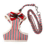S,M,L,XL Vest Harness Reflective Bow Tie Breathable and comfortable Pet Dog Leash Mesh dog harness Suit Vest Collar