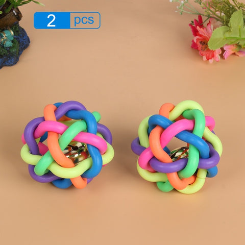 2pcs Rainbow Round Ball Small Bell Rubber Pet Dog