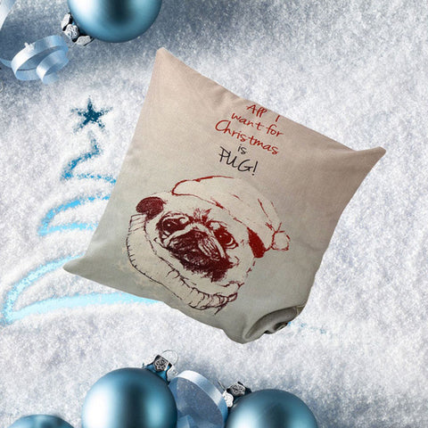 Christmas Dog Sofa Bed Home Decoration Festival Pillow Case Cushion Cover