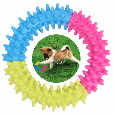 Dog's Toys Pet Traning Products Pets 3 Color Embossment Spinose Ring TPR Rubber Toys