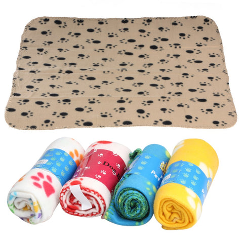 Pet Blanket Mat Cat Paw Print Soft Cotton