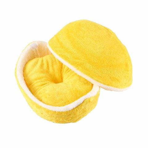 Warm Pet Bed House Hamburger Bed Disassemblability Windproof Pet Puppy Nest Shell Hiding Burger Bun for Winter Kennel