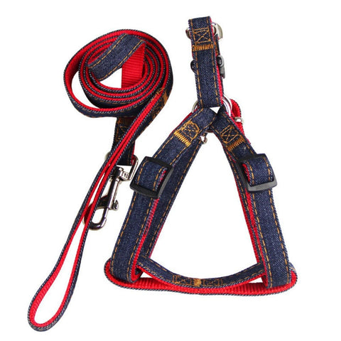 Dog  Harness Leash Set Heavy Duty Denim Dog Leash Collar, 1 Set