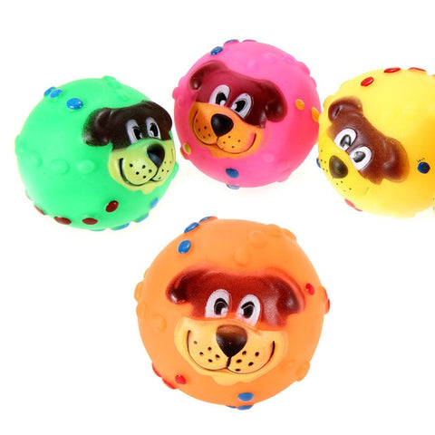Cat Dog Toys Soft Rubber Dog Face Chew Squeaker  Toys