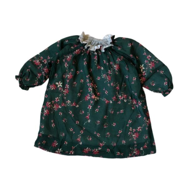 SMOCK DRESS - Green  Flowers