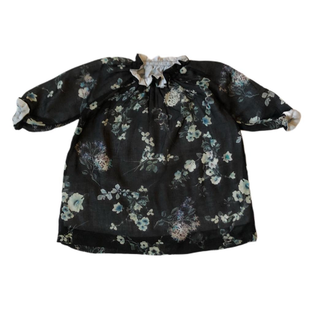 SMOCK DRESS - Black Flowers