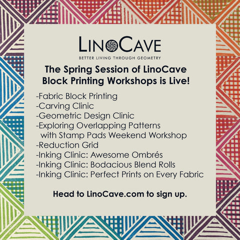 A listing of printmaking classes offered by LinoCave