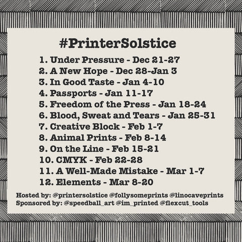 A black and white graphic outlining the prompts for printersolstice and their date ranges. Under Pressure 12/21-27-2020, A New Hope 12/28/2020-1/3/2021, In Good Taste 1/4-10, Passports 1/11-17, Freedom of the Press  1/18-24, Blood, Sweat and Tears 1/25-31, Creative Block 2/1-7, Animal Prints 2/8-14, On the Line 2/15-21, CMYK 2/22-28, A Well-Made Mistake 3/1-7, Elements 3/8-20. Hosted by @printersolstice @follysomeprints @linocaveprints. Sponsored by @speedball_art @im_printed @flexcut_tools.
