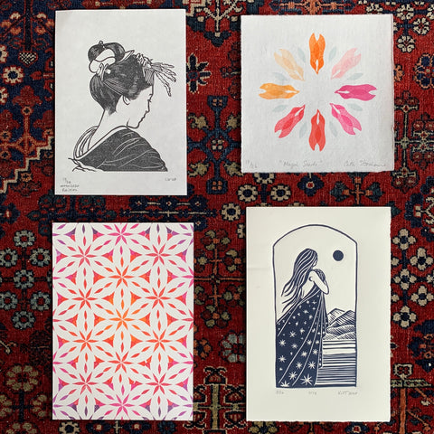 PrinterSolstice #psx2020 print exchange submissions by Catherine Gasson, Cath Stonehouse, Ali Baecker and Kate Hamel-Tucker