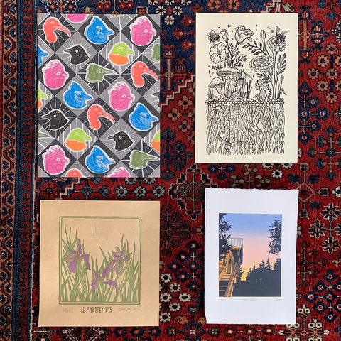 PrinterSolstice #psx2020 Print Exchange submissions by Alexis Lesnick, Circle of Circles, Marie Amelie Giamarchi and Helen Bishop