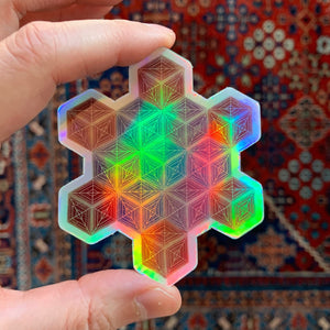 "2.5"" Cubes Vinyl Holographic Sticker"