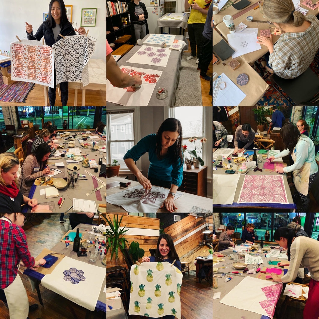 A nine panel of images of students participating in a fabric block printing workshop hosted by Susana McDonnell of LinoCave. Images show students in the various stages of the fabric block printing process.
