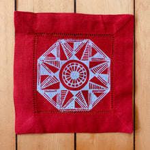 Load image into Gallery viewer, Red Cotton/Linen Blend Set of Four Coasters