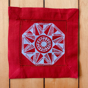 Red Cotton/Linen Blend Set of Four Coasters