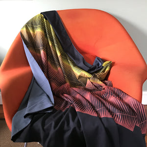 Hand Block Printed Ombré Suit Wool Throw Blanket-Long Shadows