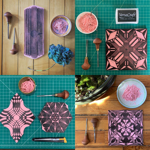 A four panel of hand carved relief printing blocks by Susana McDonnell of LinoCave. The printing blocks are carved out of pink Speedball Speedy Carve and are surrounded by carving tools, greenery and dishes of carving scraps. The blocks are characterized by being of different complex geometric patterns.