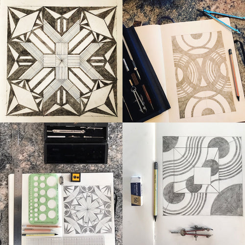 A four-panel of pencil drawings of geometric patterns by Susana McDonnell of LinoCave in sketchbooks accompanied by pencils, erasers, compasses, pencil sharpeners and rulers.