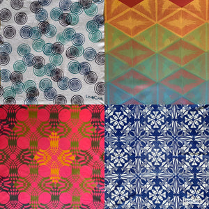 A four-panel sampler of different hand block printed fabrics by Susana McDonnell of LinoCave. Fabrics are charachterized by bright colors and geometric patterns.