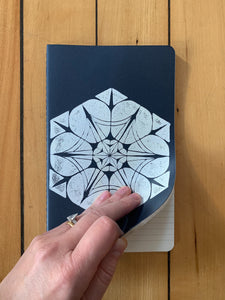 A medium navy Moleskine journal hand printed with a geometric pattern with white ink. Open to show that it is ruled.