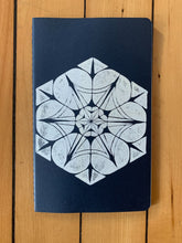 Load image into Gallery viewer, A medium navy Moleskine journal hand printed with a geometric pattern with white ink.